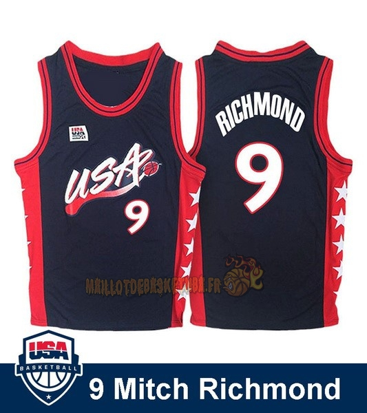 Vente Nouveau Maillot NBA 1996 USA Mitch Richmond NO.9 Noir pas cher