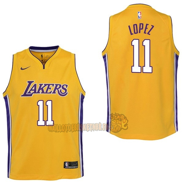 Vente Nouveau Maillot NBA Enfant Los Angeles Lakers NO.11 Brook Lopez Jaune Icon 2017-18 pas cher