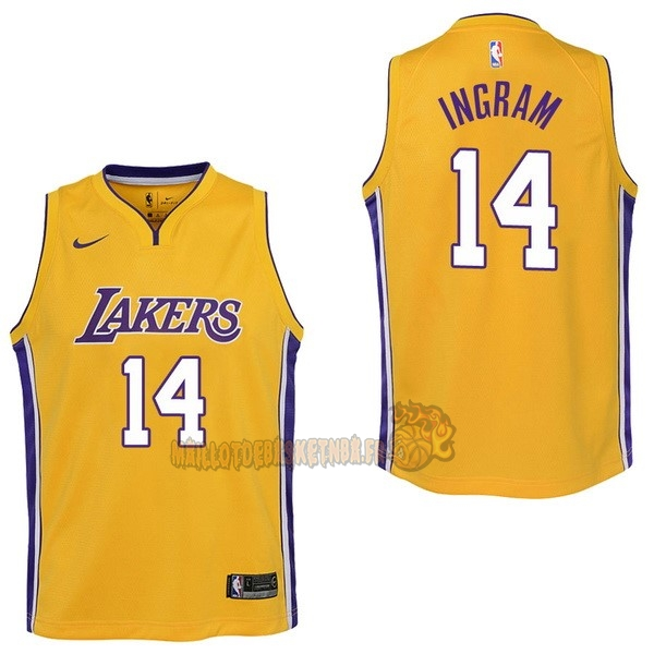 Vente Nouveau Maillot NBA Enfant Los Angeles Lakers NO.14 Brandon Ingram Jaune Icon 2017-18 pas cher