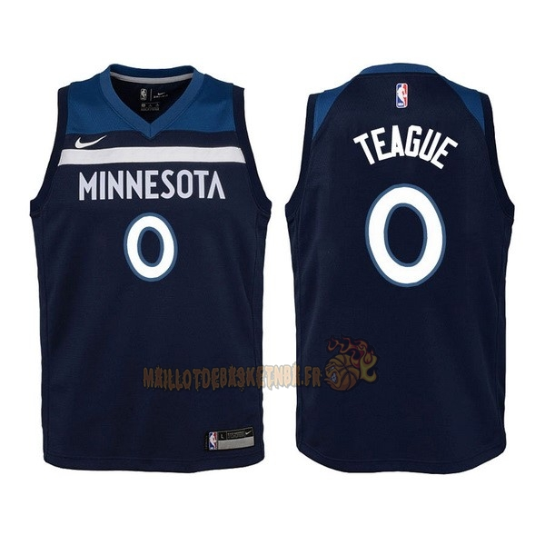 Vente Nouveau Maillot NBA Enfant Minnesota Timberwolves NO.0 Jeff Teague Marine Icon 2017-18 pas cher