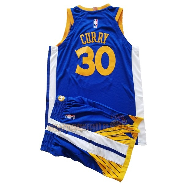 Vente Nouveau Maillot NBA Ensemble Complet Enfant Golden State Warriors NO.30 Stephen Curry Bleu 2017-18 pas cher