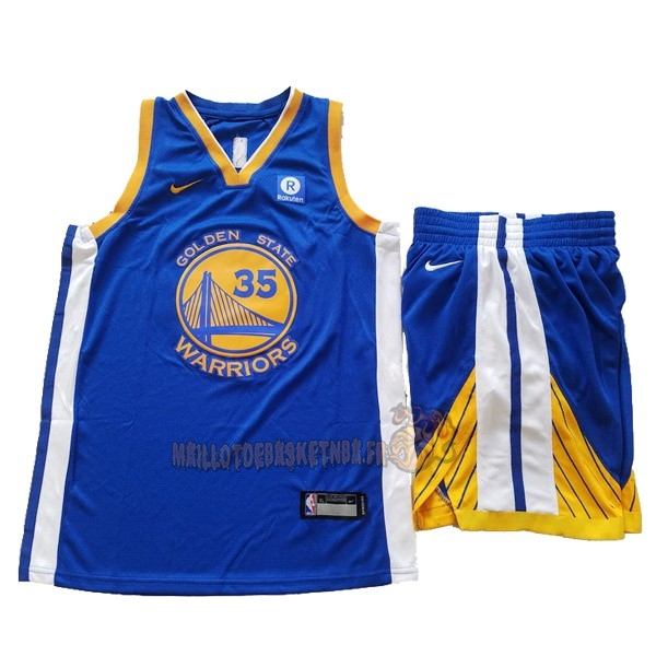 Vente Nouveau Maillot NBA Ensemble Complet Enfant Golden State Warriors NO.35 Kevin Durant Bleu 2017-18 pas cher