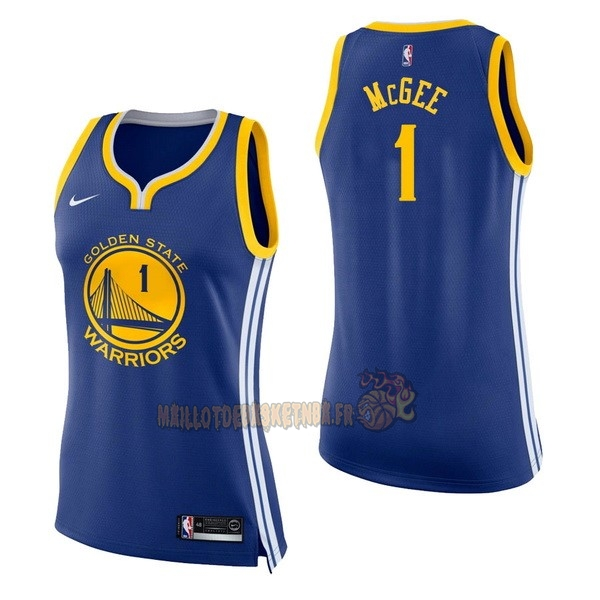 Vente Nouveau Maillot NBA Femme Golden State Warriors NO.1 JaVale McGee Bleu Icon pas cher