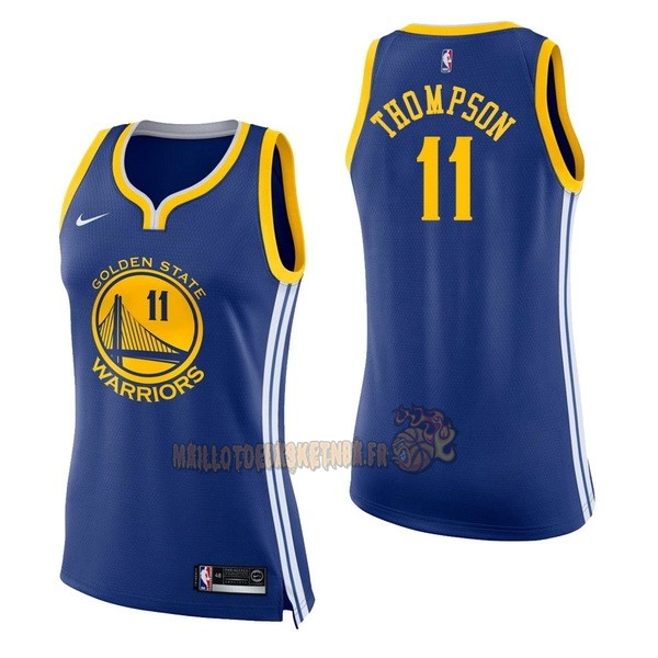 Vente Nouveau Maillot NBA Femme Golden State Warriors NO.11 Klay Thompson Bleu Icon pas cher