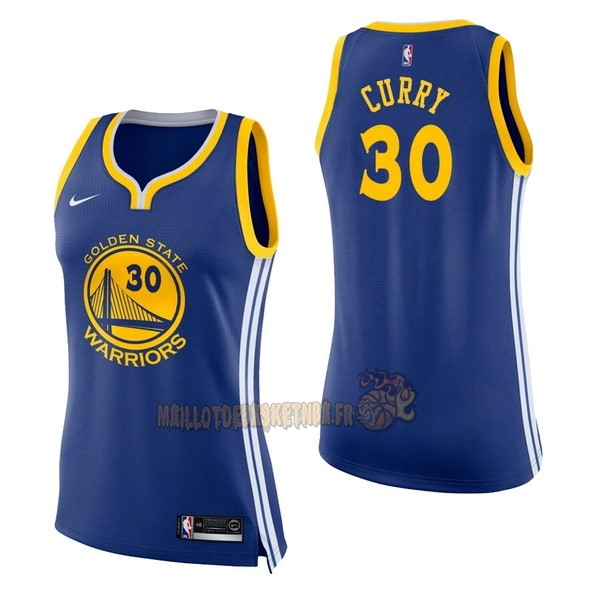 Vente Nouveau Maillot NBA Femme Golden State Warriors NO.30 Stephen Curry Bleu Icon pas cher