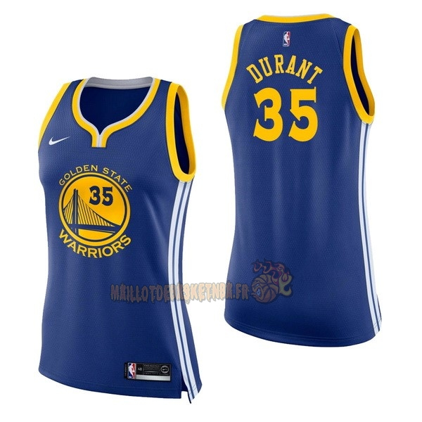 Vente Nouveau Maillot NBA Femme Golden State Warriors NO.35 Kevin Durant Bleu Icon pas cher