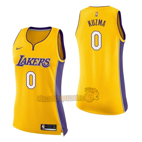Vente Nouveau Maillot NBA Femme Los Angeles Lakers NO.0 Kyle Kuzma Jaune Icon pas cher
