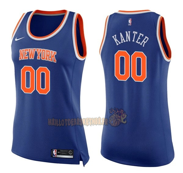 Vente Nouveau Maillot NBA Femme New York Knicks NO.0 Enes Kanter Bleu Icon pas cher
