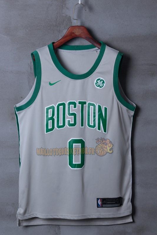 1314f7383e7f1 ... Vente Nouveau Maillot NBA Nike Boston Celtics NO.0 Jayson Tatum Gris  Ville pas cher ...
