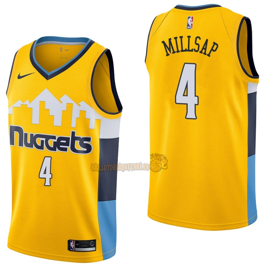 Vente Nouveau Maillot NBA Nike Denver Nuggets NO.4 Paul Millsap Jaune Statement pas cher