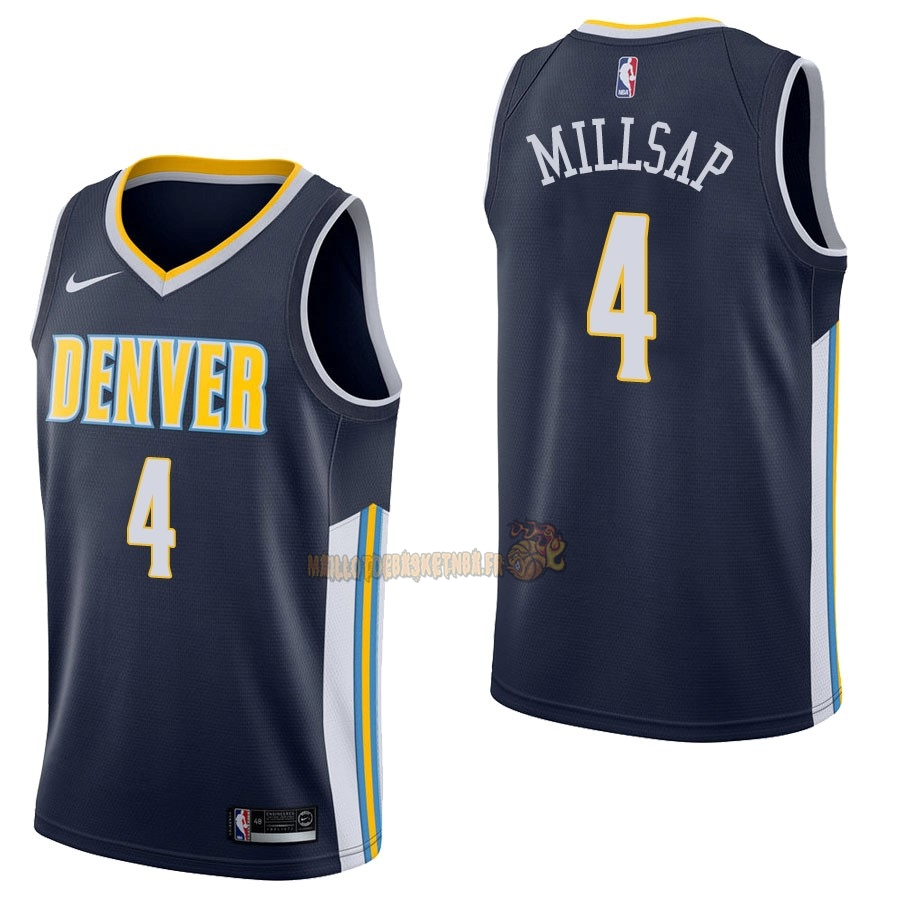 Vente Nouveau Maillot NBA Nike Denver Nuggets NO.4 Paul Millsap Marine Icon pas cher