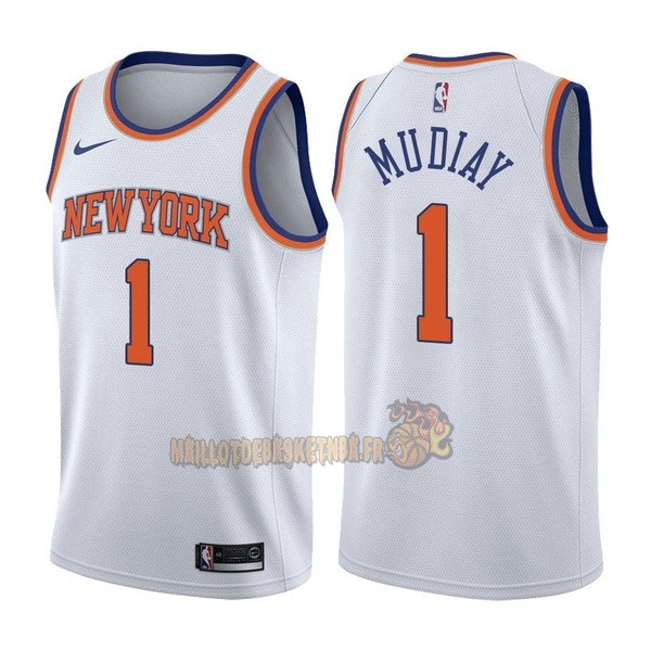 Vente Nouveau Maillot NBA Nike New York Knicks NO.1 Emmanuel Mudiay Blanc Association pas cher