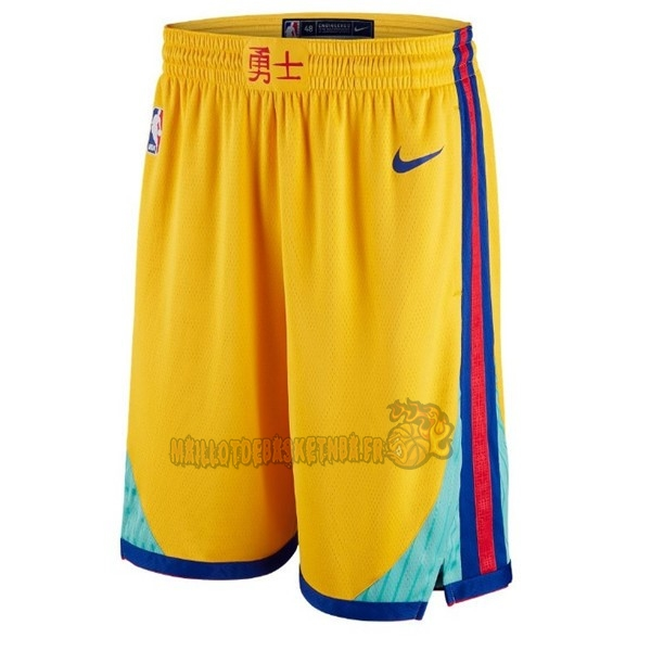 Vente Nouveau Short Basket Golden State Warriors Jaune Ville pas cher
