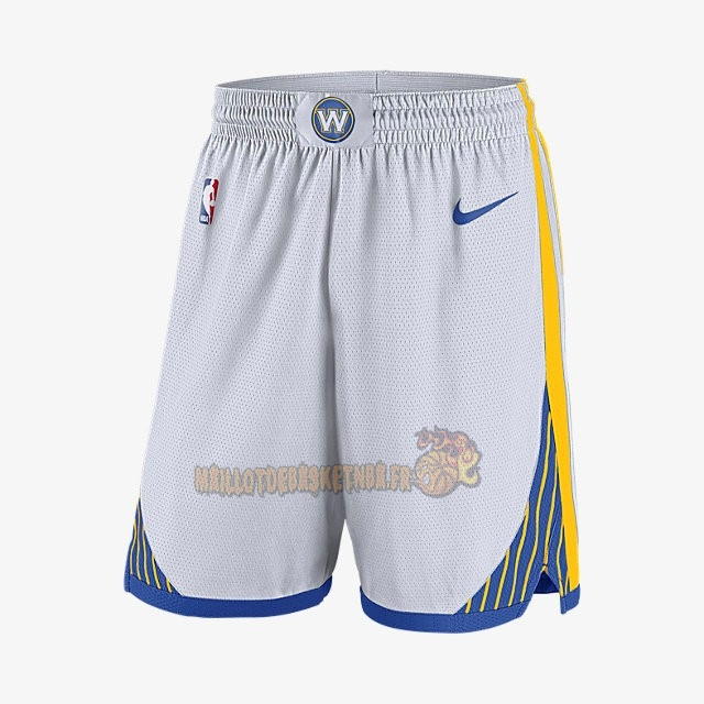 Vente Nouveau Short Basket Golden State Warriors Nike Blanc pas cher