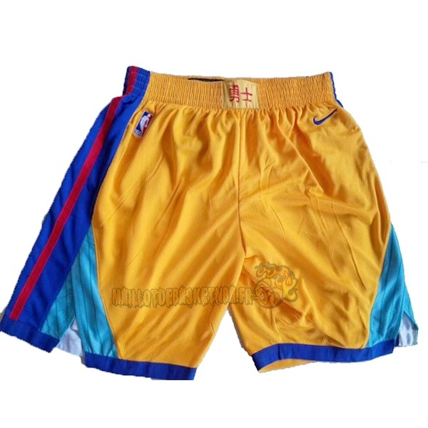 Vente Nouveau Short Basket Golden State Warriors Nike Jaune pas cher