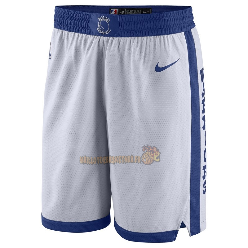 Vente Nouveau Short Basket Golden State Warriors Nike Retro Blanc pas cher