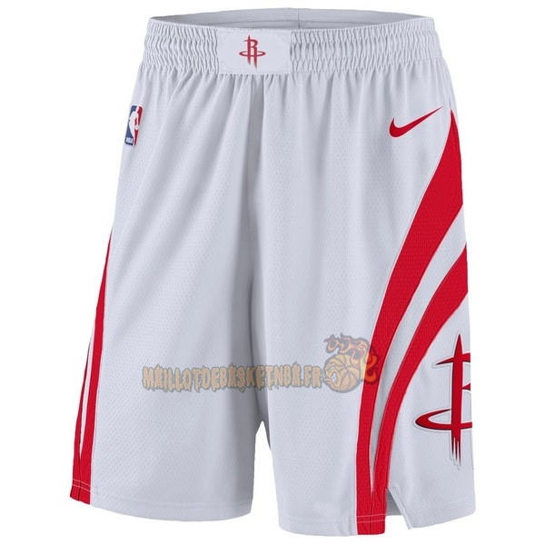 Vente Nouveau Short Basket Houston Rockets Nike Blanc pas cher
