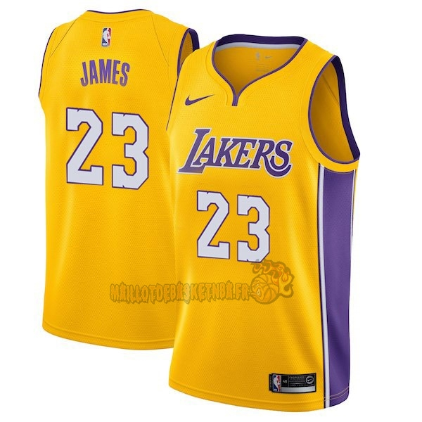 Vente Nouveau Maillot NBA Enfant Los Angeles Lakers NO.23 LeBron James Jaune Icon 2017-18 pas cher