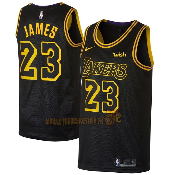 Vente Nouveau Maillot NBA Nike Los Angeles Lakers NO.23 Lebron James Noir Ville pas cher