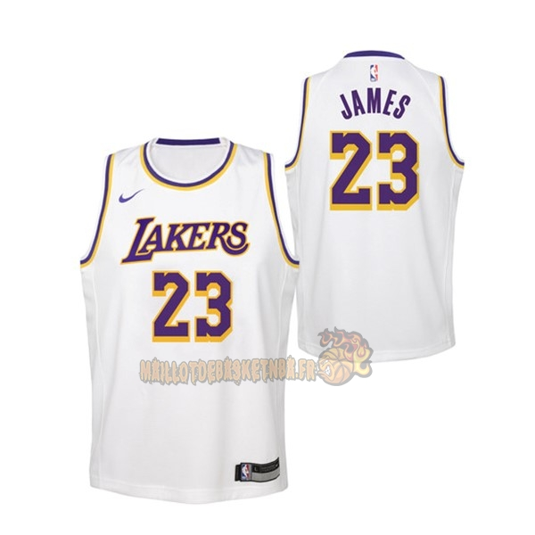 Vente Nouveau Maillot NBA Enfant Los Angeles Lakers NO.23 Lebron James Blanc Association 2018-19 pas cher