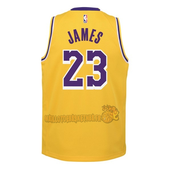 Vente Nouveau Maillot NBA Enfant Los Angeles Lakers NO.23 Lebron James Jaune Icon 2018-19 pas cher
