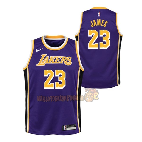 Vente Nouveau Maillot NBA Enfant Los Angeles Lakers NO.23 Lebron James Pourpre Statement 2018-19 pas cher