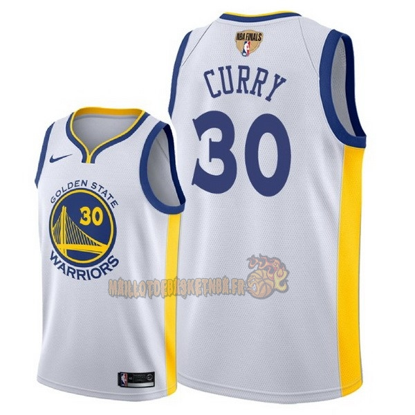 Vente Nouveau Maillot NBA Golden State Warriors 2018 Final Champions NO.30 Stephen Curry Blanc pas cher