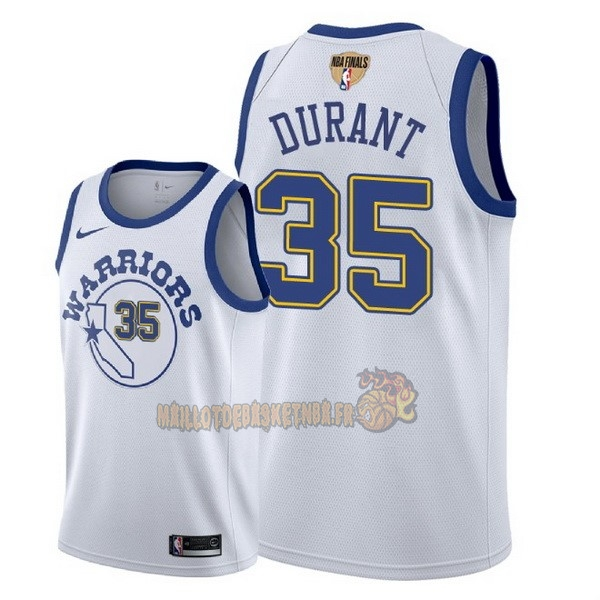 Vente Nouveau Maillot NBA Golden State Warriors 2018 Final Champions NO.35 Kevin Durant Retro Blanc pas cher