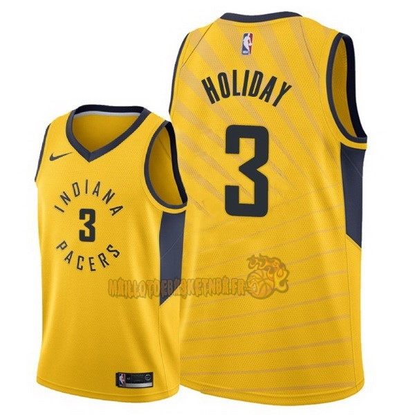 Vente Nouveau Maillot NBA Nike Indiana Pacers NO.3 Aaron Holiday Jaune Statement 2018 pas cher
