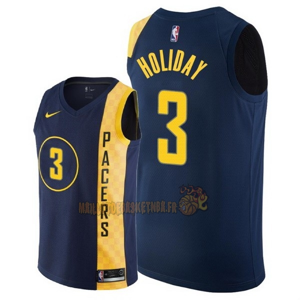 Vente Nouveau Maillot NBA Nike Indiana Pacers NO.3 Aaron Holiday Nike Marine Ville 2018 pas cher