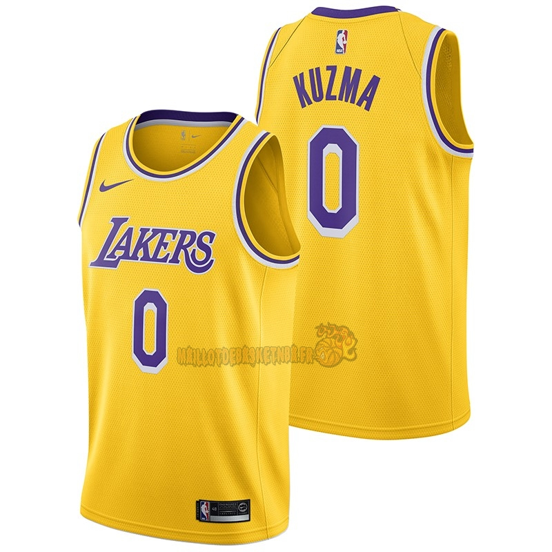 Vente Nouveau Maillot NBA Nike Los Angeles Lakers NO.0 Kyle Kuzma Jaune Icon 2018-19 pas cher