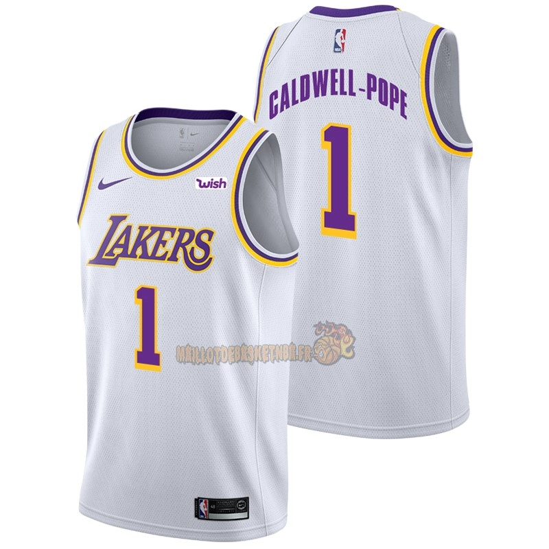 Vente Nouveau Maillot NBA Nike Los Angeles Lakers NO.1 Kentavious Caldwell Pope Blanc 2018-19 pas cher