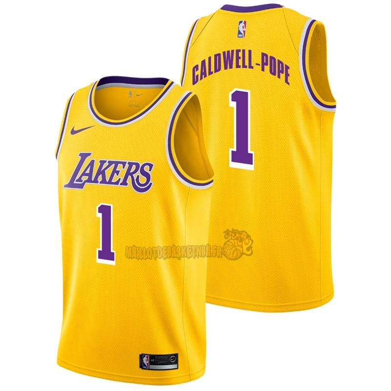 Vente Nouveau Maillot NBA Nike Los Angeles Lakers NO.1 Kentavious Caldwell Pope Jaune Icon 2018-19 pas cher