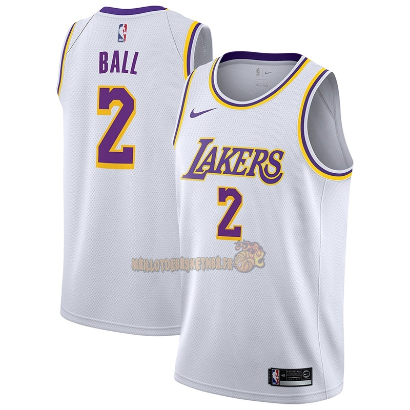 Vente Nouveau Maillot NBA Nike Los Angeles Lakers NO.2 Lonzo Ball Blanc Association 2018-19 pas cher