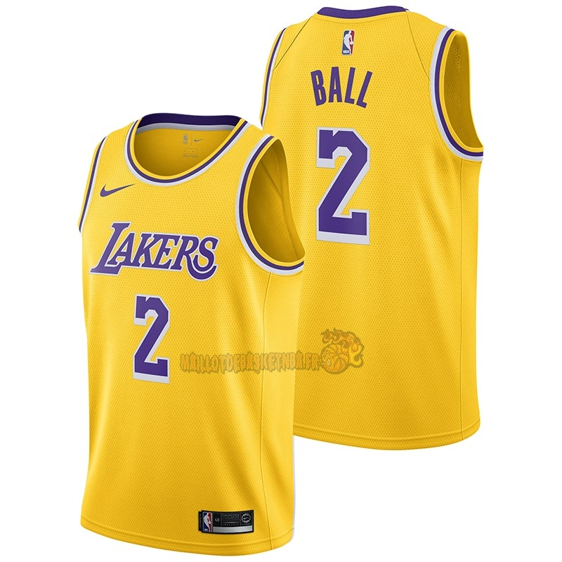 Vente Nouveau Maillot NBA Nike Los Angeles Lakers NO.2 Lonzo Ball Jaune Icon 2018-19 pas cher