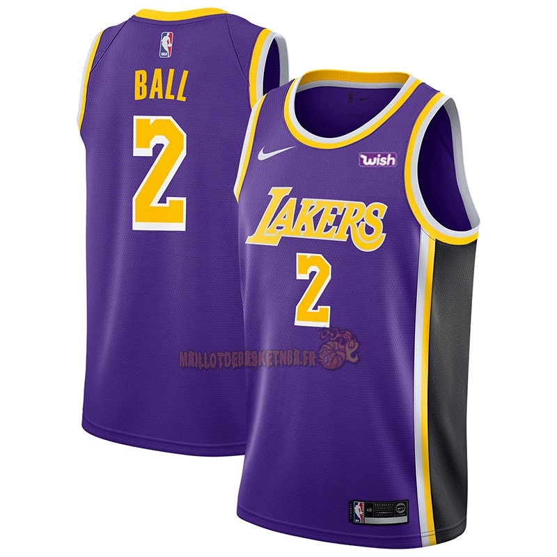 Vente Nouveau Maillot NBA Nike Los Angeles Lakers NO.2 Lonzo Ball Pourpre 2018-19 pas cher