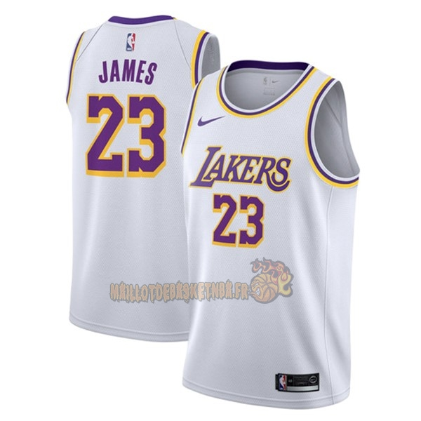 Vente Nouveau Maillot NBA Nike Los Angeles Lakers NO.23 Lebron James Blanc Association 2018-19 pas cher