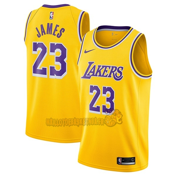 Vente Nouveau Maillot NBA Nike Los Angeles Lakers NO.23 Lebron James Jaune Icon 2018-19 pas cher