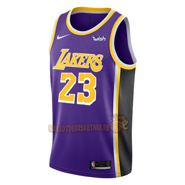 Vente Nouveau Maillot NBA Nike Los Angeles Lakers NO.23 Lebron James Pourpre 2018-19 pas cher