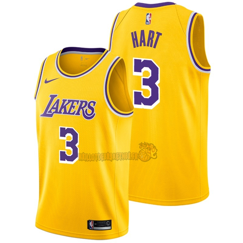 Vente Nouveau Maillot NBA Nike Los Angeles Lakers NO.3 Josh Hart Jaune Icon 2018-19 pas cher