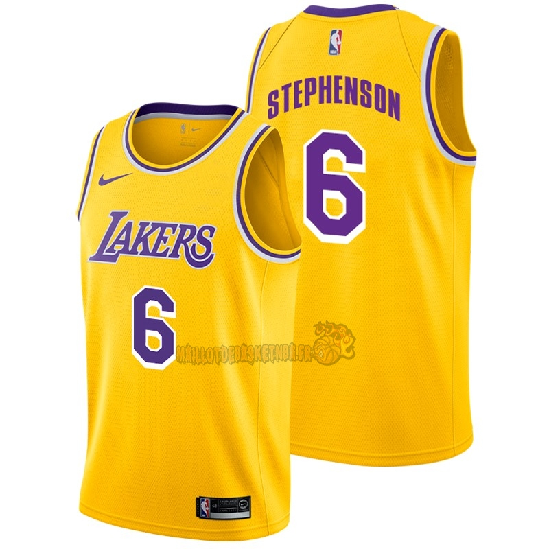 Vente Nouveau Maillot NBA Nike Los Angeles Lakers NO.6 Lance Stephenson Jaune Icon 2018-19 pas cher