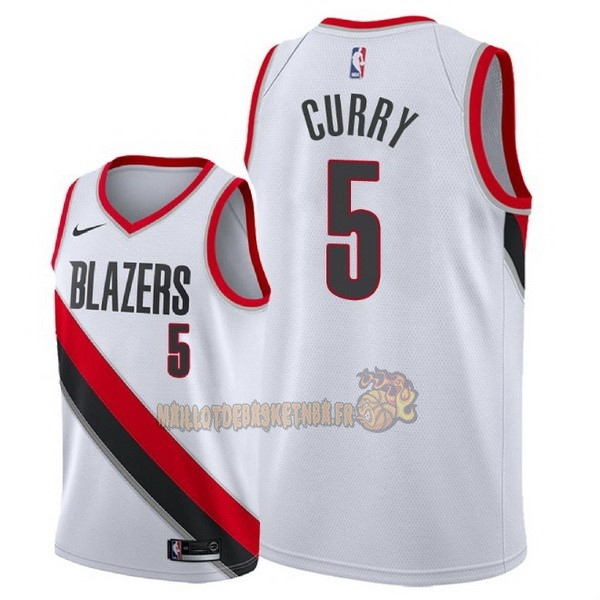 Vente Nouveau Maillot NBA Nike Portland Trail Blazers NO.5 Seth Curry Blanc Association 2018 pas cher