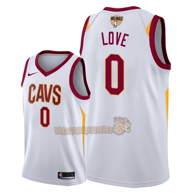 Vente Nouveau Maillot NBA Cleveland Cavaliers 2018 Final Champions NO.0 Kevin Love Blanc Association Patch Pas Cher
