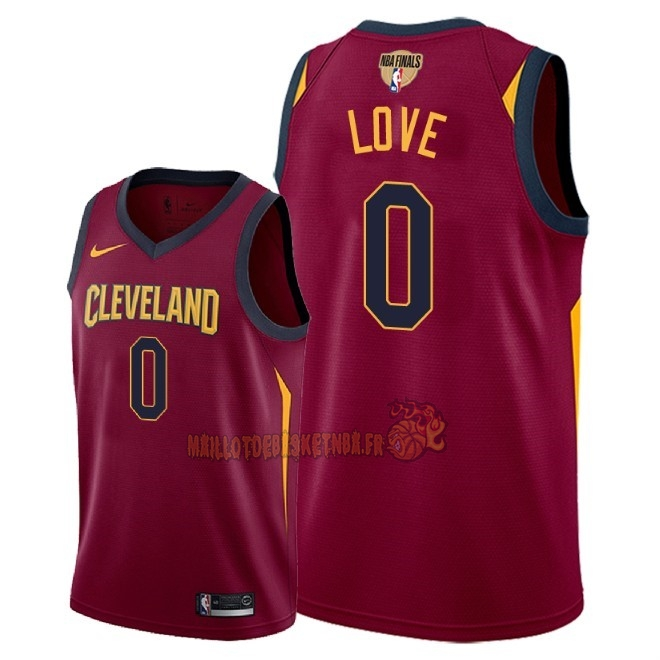 Vente Nouveau Maillot NBA Cleveland Cavaliers 2018 Final Champions NO.0 Kevin Love Rouge Icon Patch Pas Cher