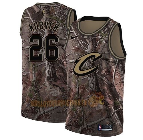 Vente Nouveau Maillot NBA Cleveland Cavaliers NO.26 Kyle Korver Camo Swingman Collection Realtree 2018 Pas Cher