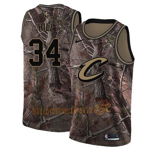 Vente Nouveau Maillot NBA Cleveland Cavaliers NO.34 Tyrone Hill Camo Swingman Collection Realtree 2018 Pas Cher