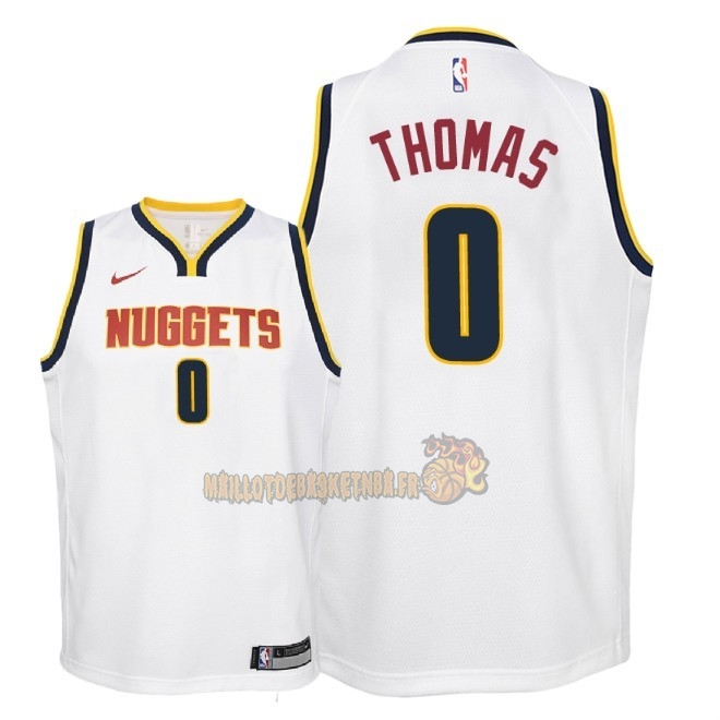 Vente Nouveau Maillot NBA Enfant Denver Nuggets NO.0 Isaiah Thomas Blanc Association 2018-19 Pas Cher