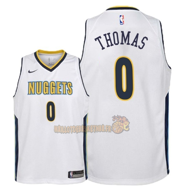 Vente Nouveau Maillot NBA Enfant Denver Nuggets NO.0 Isaiah Thomas Blanc Association 2018 Pas Cher