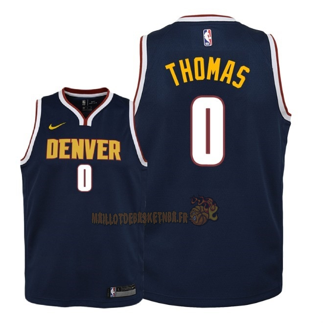 Vente Nouveau Maillot NBA Enfant Denver Nuggets NO.0 Isaiah Thomas Marine Icon 2018-19 Pas Cher