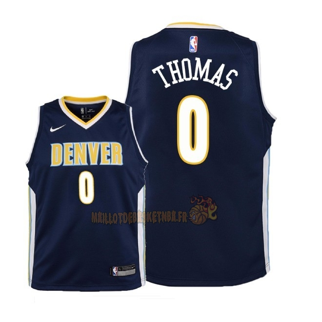 Vente Nouveau Maillot NBA Enfant Denver Nuggets NO.0 Isaiah Thomas Marine Icon 2018 Pas Cher